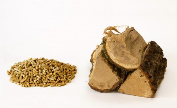 Firewood with wooden pellets on a white background